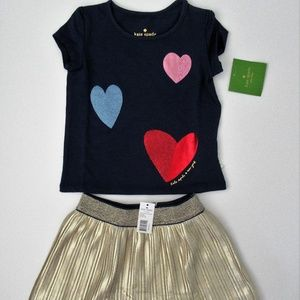 NWT Kate Spade Tossed Hearts Tee Gold Skirt Set